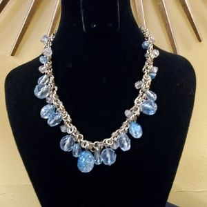 Blue Dangle Bead Gold Chain Necklace #603